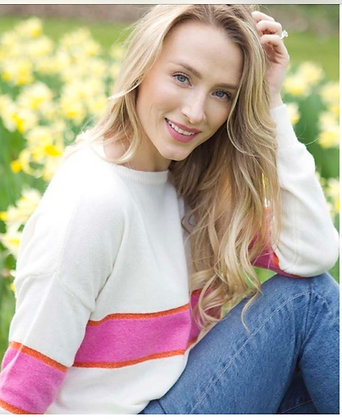 Luella Remi Cashmere Mix Sweater Ivory Hot Pink Gold