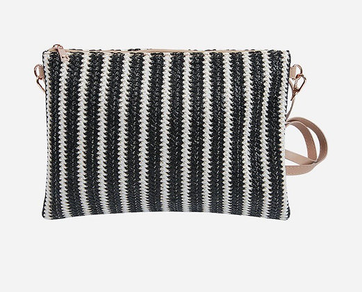 Black and White Stripe Rattan Bag