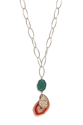 Envy Gem Pendant Necklace Green and Rust