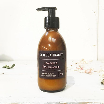 Rebecca Tracy Aromatherapy Hand and Body Lotion Lavender and Rose Geranium