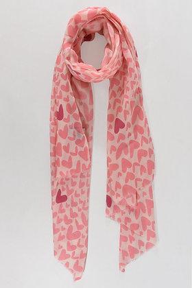 Pink Heart Print Scarf