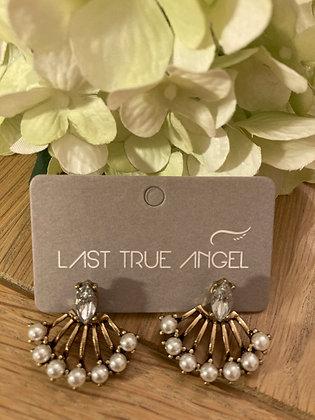Last True Angel Vintage style Pearl and Diamanté Earrings