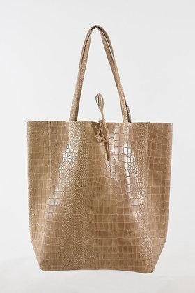 Italian  Leather Tote Bag in Nude Beige Croc Print