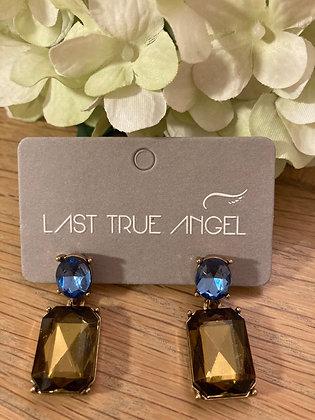 Last True Angel Deco Post Earrings Smokey Topaz and Mid Blue