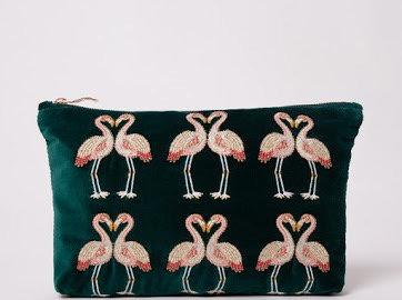Elizabeth Scarlett Kissing Flamingos Velvet Make up Bag