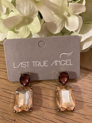 Last True Angel Deco Post Earrings Antique Gold and Cognac