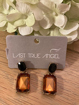 Last True Angel Deco Post Earrings Amber and Black