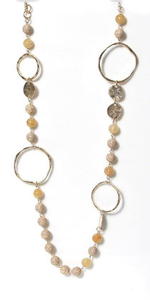 Envy Long  Necklace Cream and Gold Hoops