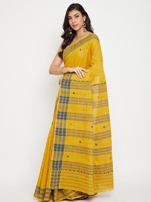 Yellow Eri silk saree