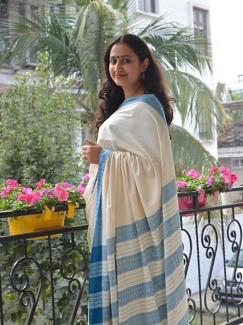 white handloom silk saree for office wear