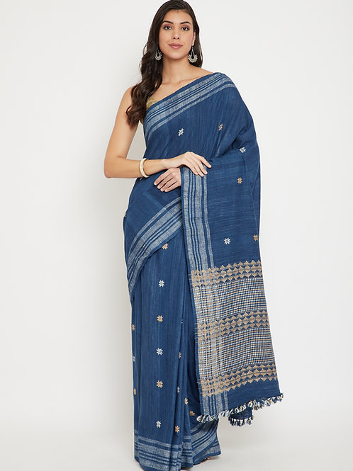 Indigo Eri silk saree