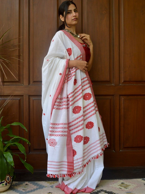 white cotton saree with red flowers