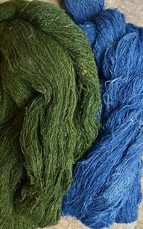 onion skins and indigo dyed peace silk yarn