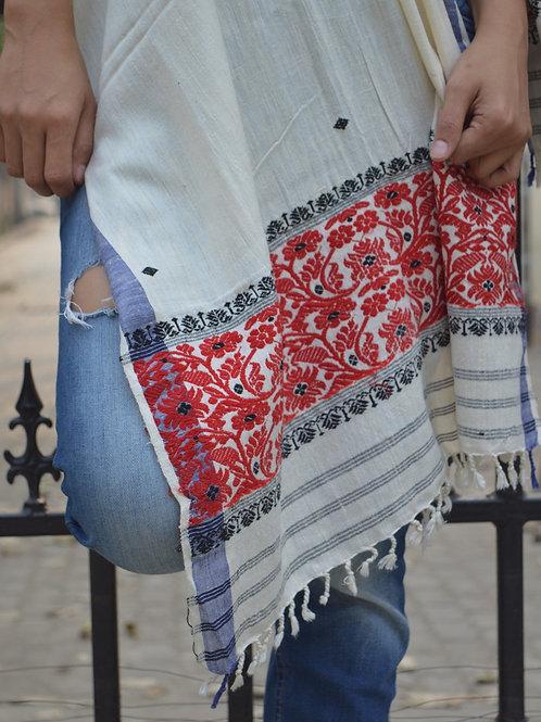 White Eri silk scarf with red flower border