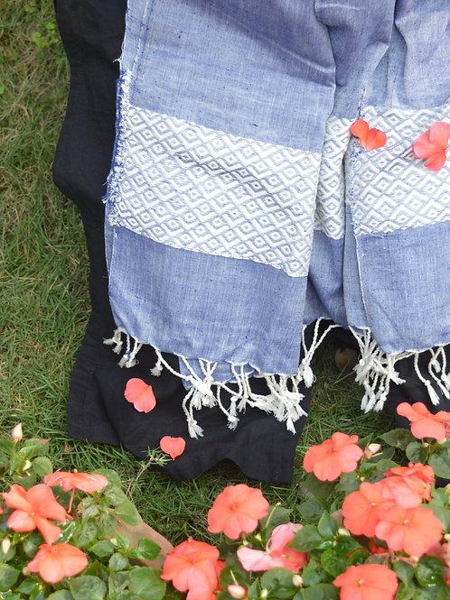 Denim blue cotton silk scarf for women
