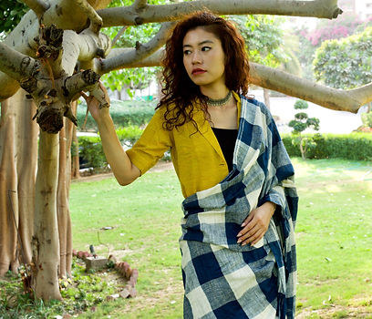 style tips to pair blue and white saree with yellow blouse as seen on Jaypore