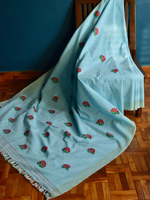 light blue cotton saree with red roses