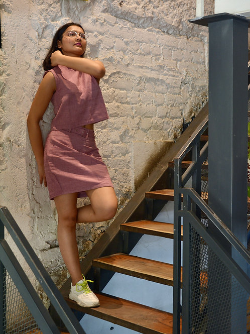 Dusky pink mini skirt with belt