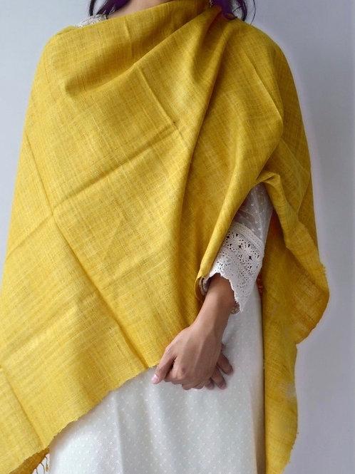Turmeric dyed plain Eri silk scarf without motifs
