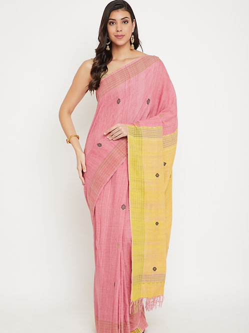 Pink handwoven Eri silk saree