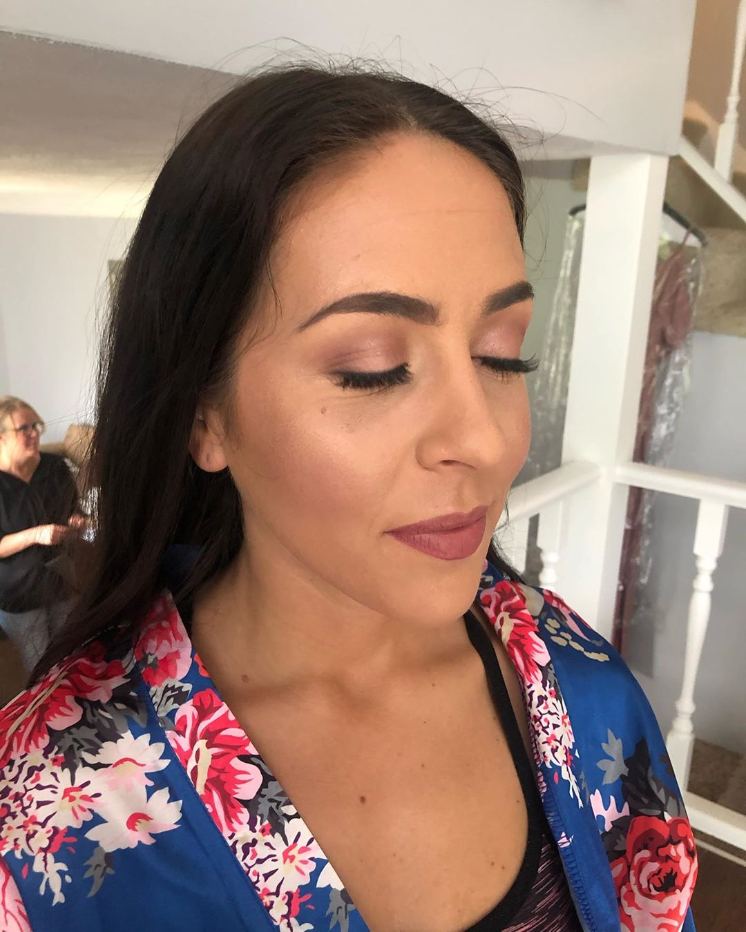 Rosy neutrals on a bridesmaid, makeup done by artist Melina Tobin