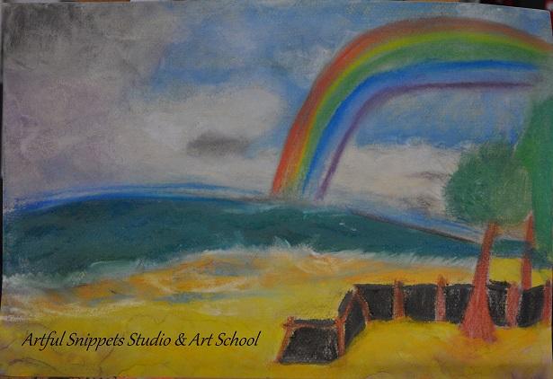 Soft pastel beach scene