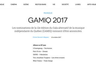Parc X Trio dans les nominations officielles de la GAMIQ 2017