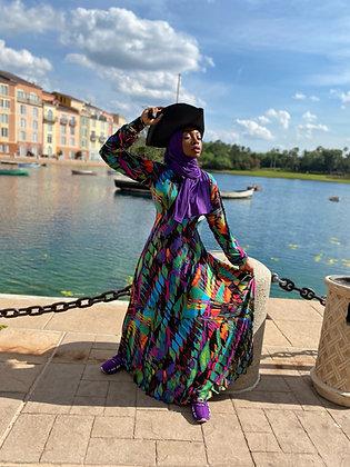 BaZma Abstract Hoodie Dress (purple hue)
