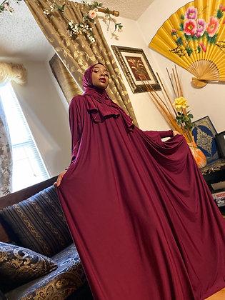 BaZma Deep Ruby Jilbab Set