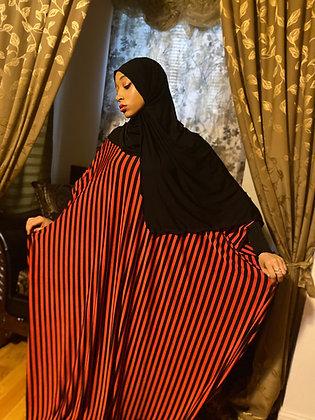 BaZma Jilbab Set with Black and Red Stripe