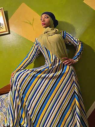 BaZma Abstract Stripe Dress in Blue