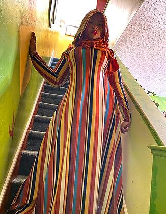 BaZma Abstract Stripe Hoodie Dress