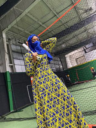 BaZma Static Dress (Royal Blue/Yellow)