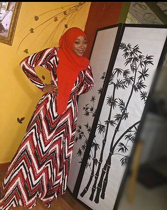 BaZma Red and Black Afro Print Dress