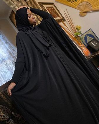 BaZma Black Jilbab Set (Curly Shayla)
