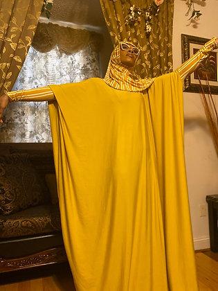 BaZma Gold Jilbab Set with Gold and White Stripe