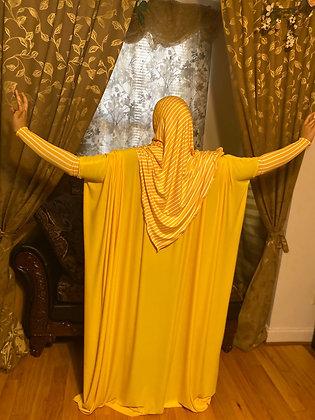BaZma Jilbab Set with Yellow and White Stripe