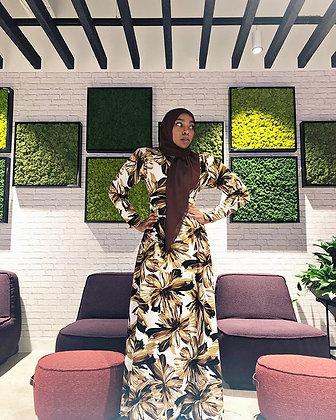 BaZma Brown Floral Dress