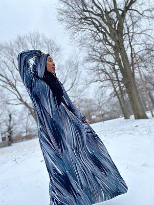 BaZma Arctic Gray Hoodie Dress