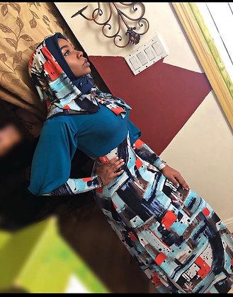 BaZma Abstract Hoodie Dress