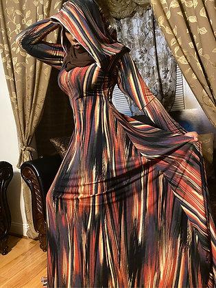 BaZma Rust/Black Abstract Hoodie Dress