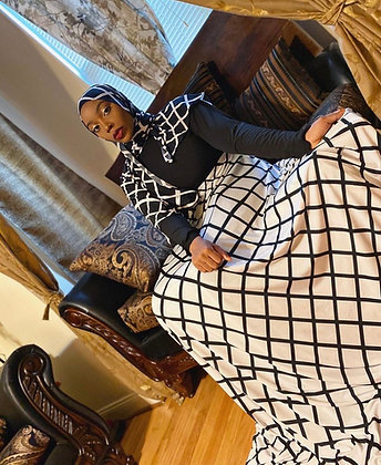 BaZma Geo Print Turtle Neck Dress Set