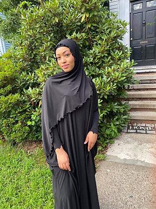 BaZma Black Jilbab Set Curly Shayla
