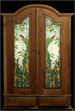 Hand Painted Wardrobe with Cranes