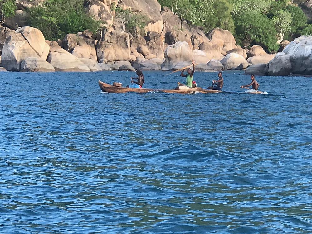 Canoes on Lake Malawi