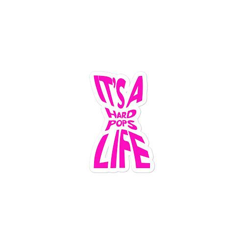 pink 'it's a hardpops life' sticker.