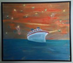 Pleasure Boat and Star Sky