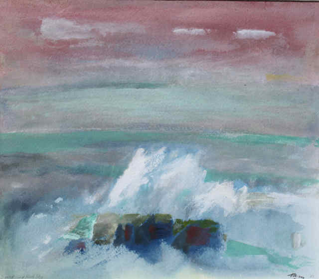 Surf and Red Sky - SOLD