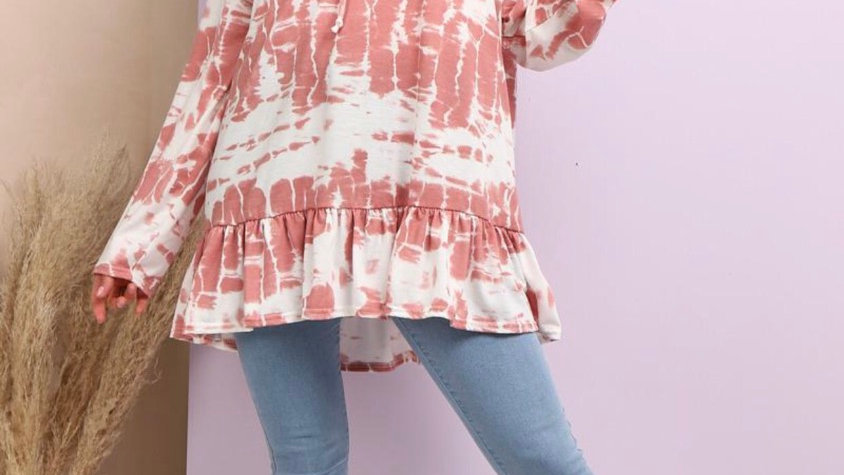 Frill hooded top