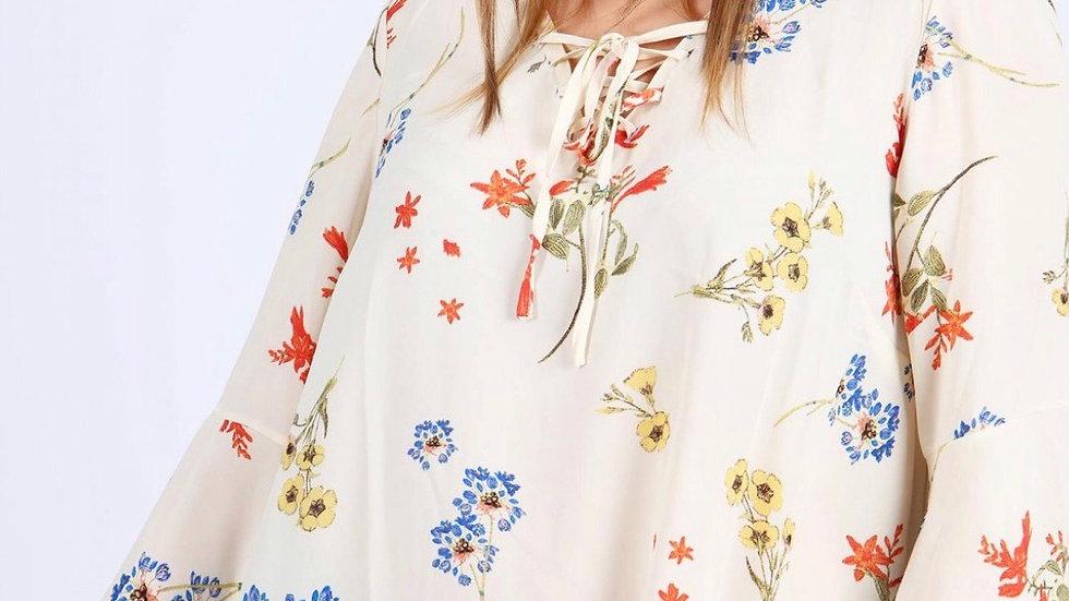 Ivory floral print top